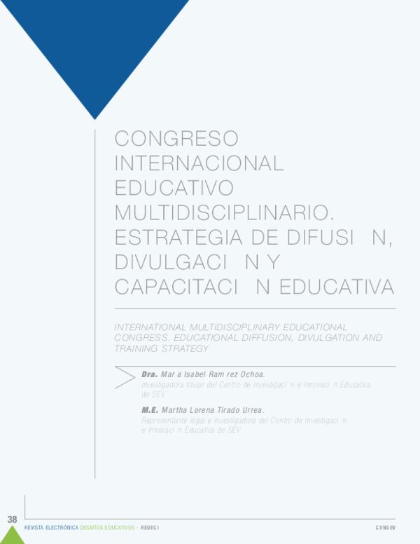 Pdf Congreso Internacional Educativo Multidisciplinario