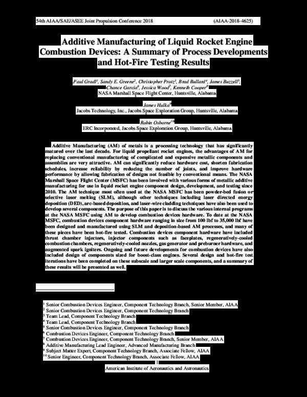 PDF) Additive Manufacturing of Liquid Rocket Engine