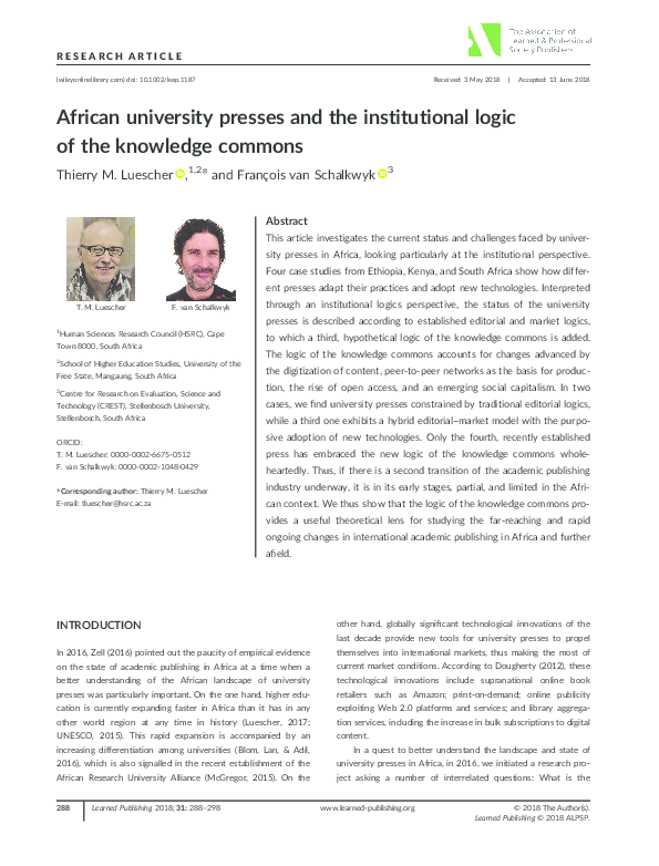 PDF) African university presses and the institutional logic