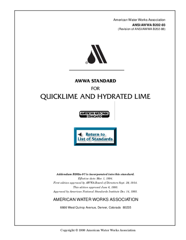 AWWA B202-13 Quicklime and Hydrated Lime