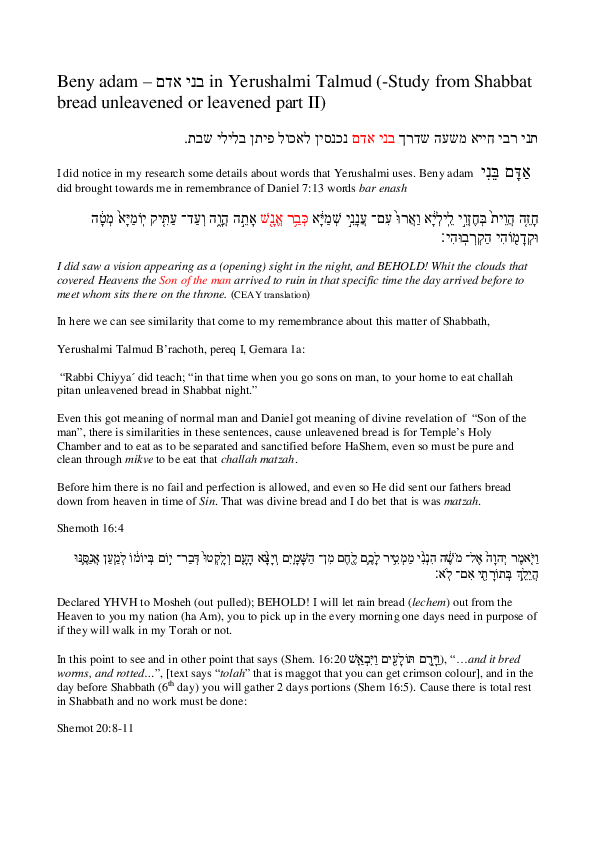 PDF) Beny adam בני אדם in Yerushalmi Talmud Study from