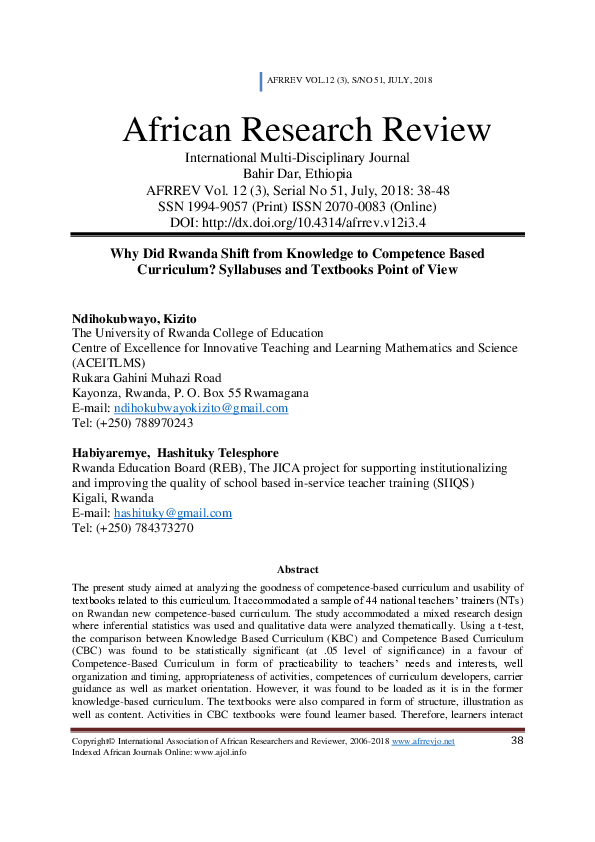 PDF) Why Did Rwanda Shift from Knowledge to Competence Based