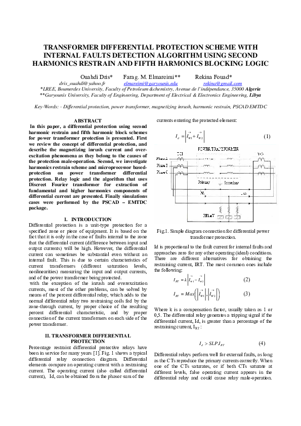 PDF) TRANSFORMER DIFFERENTIAL PROTECTION SCHEME WITH INTERNAL FAULTS