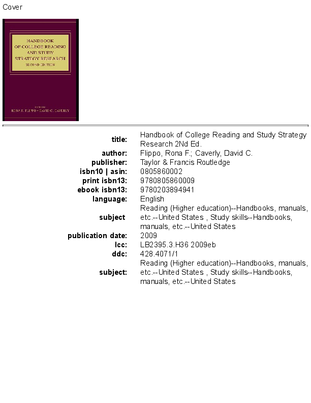PDF) Handbook of College Reading Research. 2nd Ed. Fippo ...