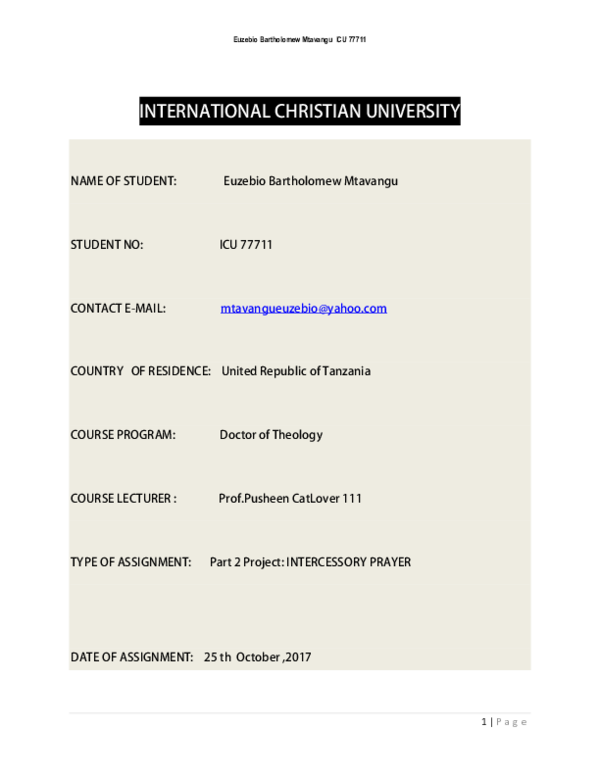 PDF) TYPE OF ASSIGNMENT: Part 2 Project: INTERCESSORY PRAYER