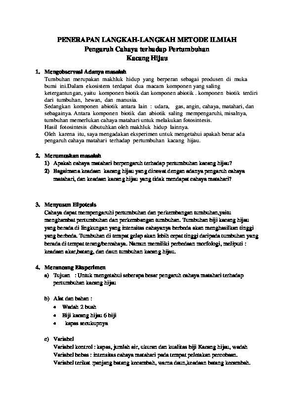 Contoh Metode Ilmiah Tumbuhan Kacang Hijau Barisan Contoh