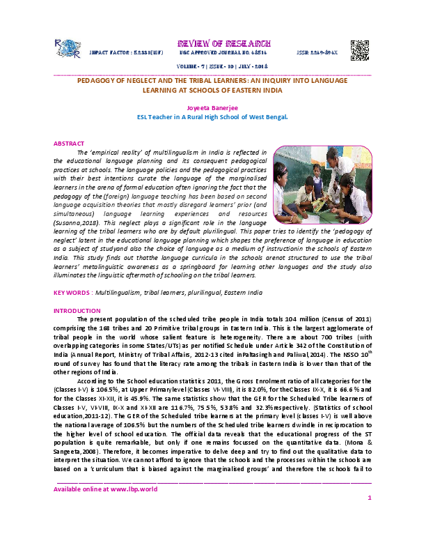 PDF) PEDAGOGY OF NEGLECT AND THE TRIBAL LEARNERS: AN INQUIRY