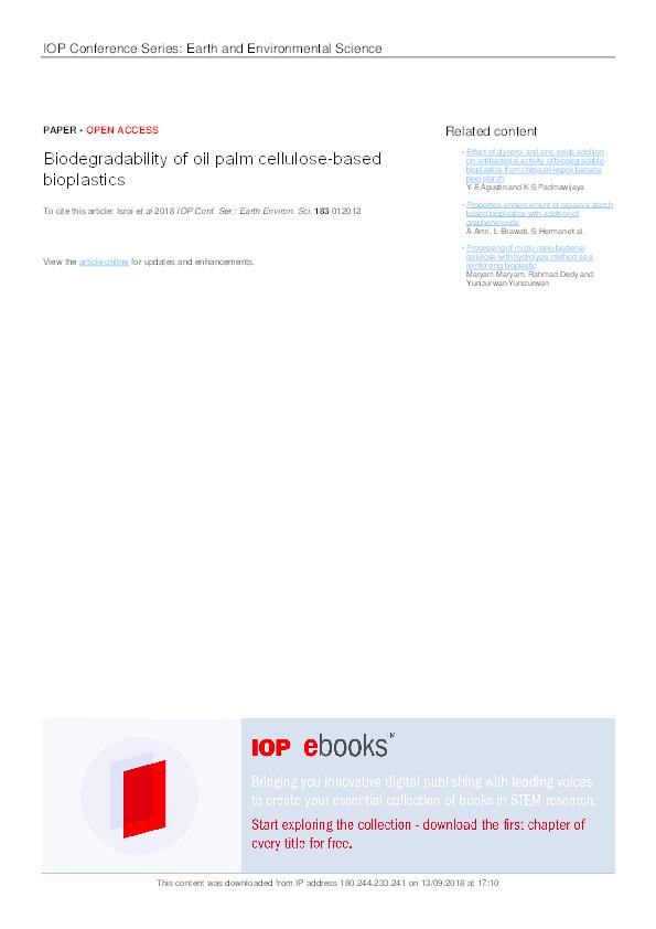 PDF) Biodegradability of oil palm cellulose-based