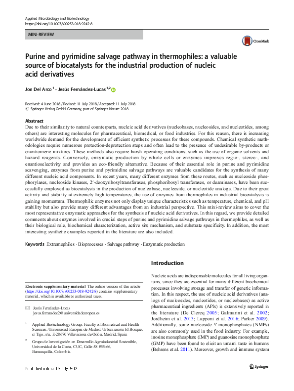 PDF) Purine and pyrimidine salvage pathway in thermophiles