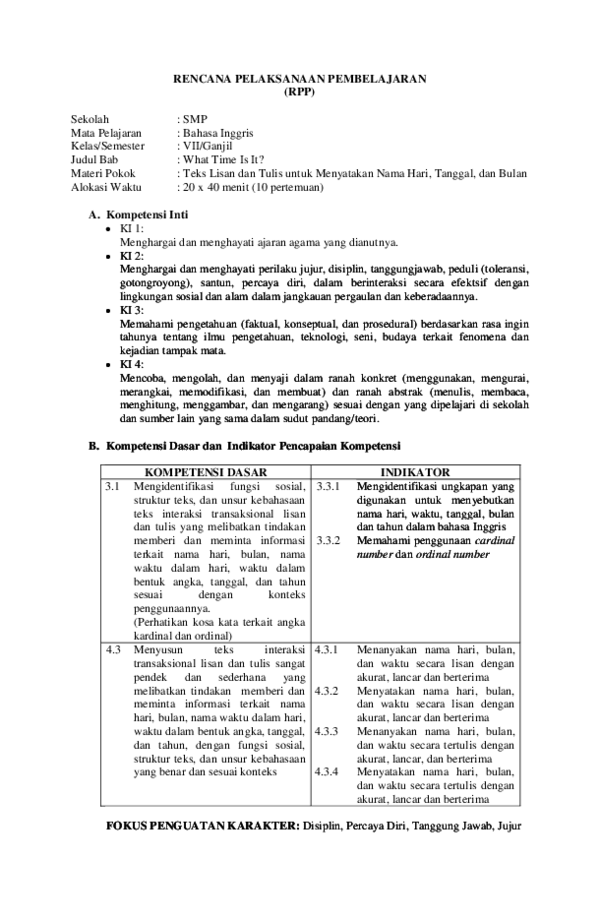 Contoh Rpp Bahasa Inggris Smp K13