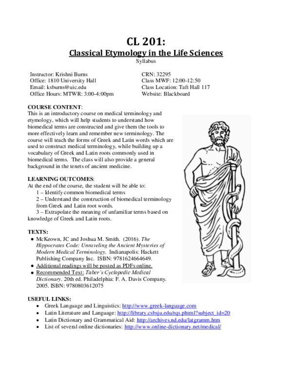 DOC) Syllabus: Classical Etymologies in the Life Sciences