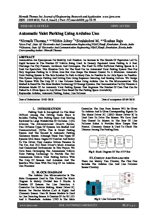 PDF) Automatic Valet Parking Using Arduino Uno | IJERA (www ijera