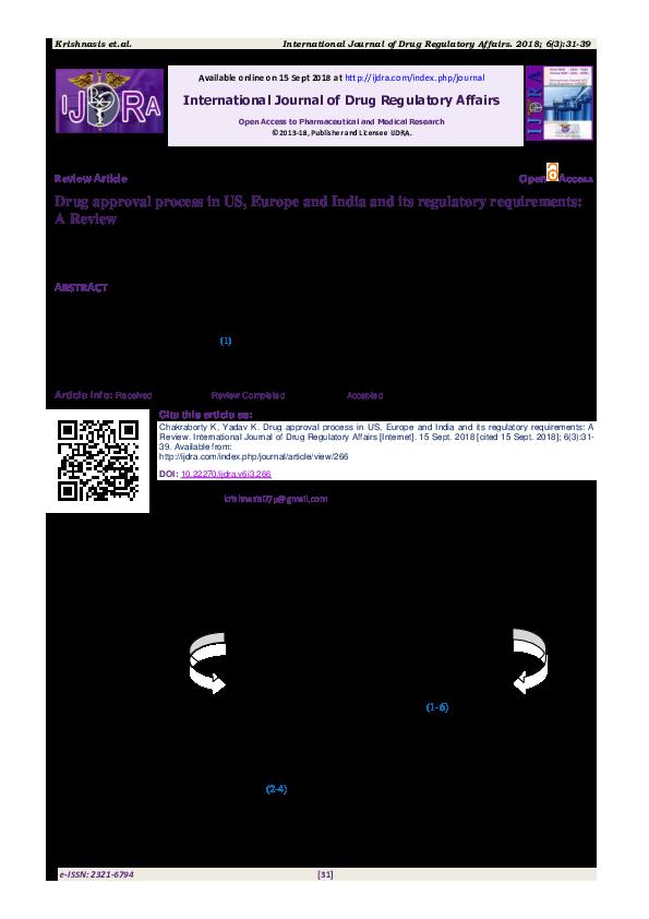 PDF) International Journal of Drug Regulatory Affairs Drug approval