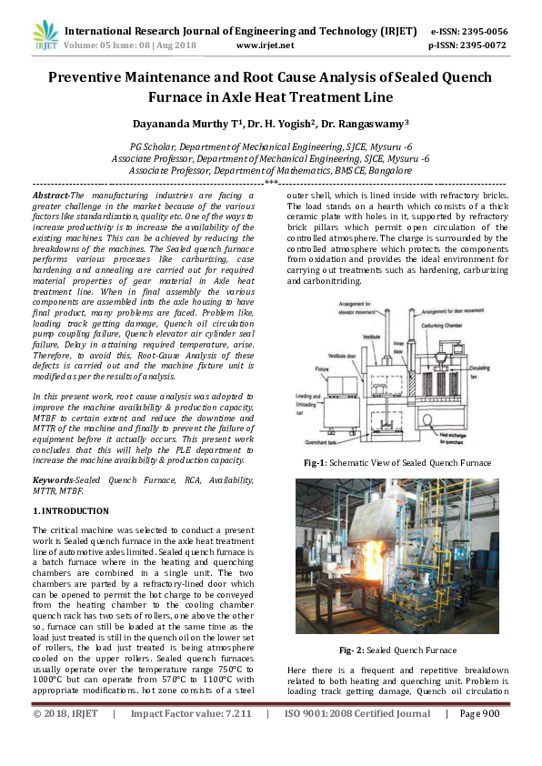 PDF) IRJET- Preventive Maintenance and Root Cause Analysis
