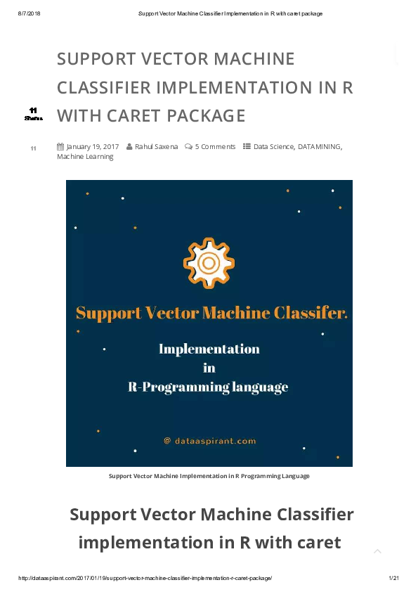 PDF) Support Vector Machine Implementation in R Programming