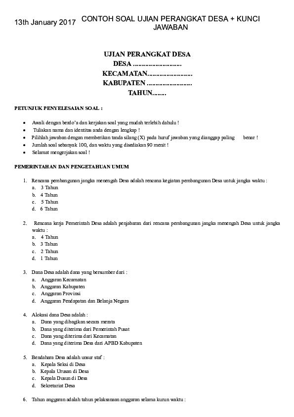 Pdf Contoh Soal Ujian Perangkat Desa Kunci Jawaban Contoh