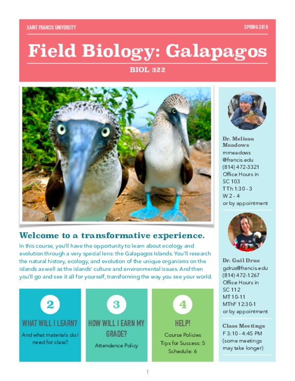PDF) Field Biology: Ecology and Evolution in the Galapagos