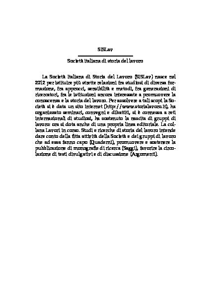 Pdf Passato Precario Flessibilita E Precarieta Del Lavoro Come Strumenti Concettuali Per Lo Studio Storico Delle Interazioni Tra Rapporti Di Lavoro In Giulia Bonazza E Giulio Ongaro A Cura Di Lavoro E