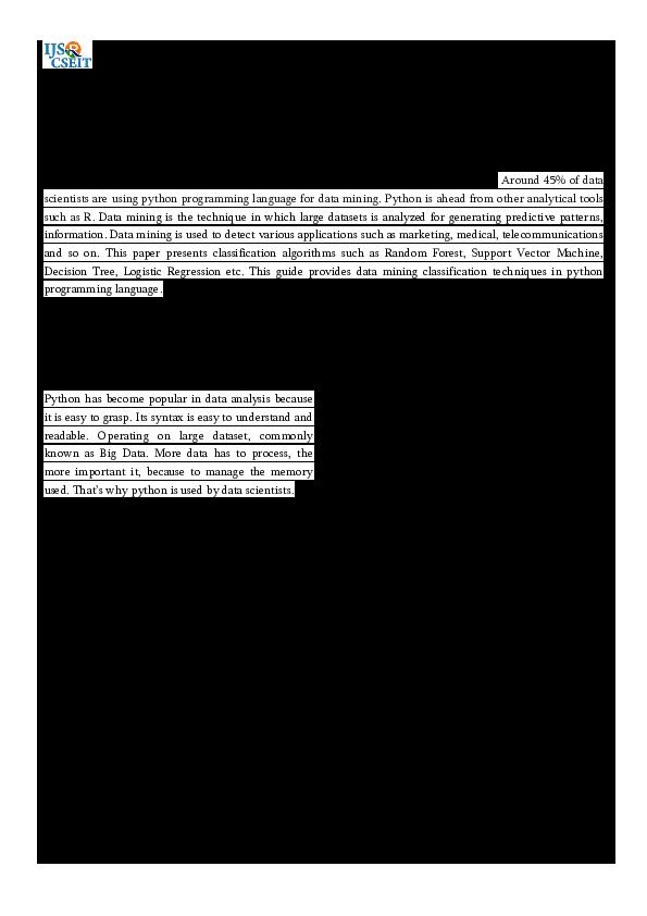 Pdf Guidance To Data Mining In Python International Journal Of