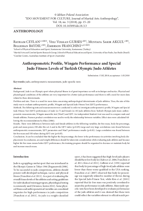 PDF) Anthropometric Profile, Wingate Performance and Special Judo