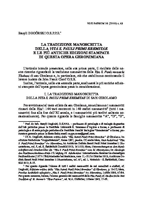 PDF) LA TRADIZIONE MANOSCRITTA DELLA VITA S  PAULI PRIMI EREMITAE E