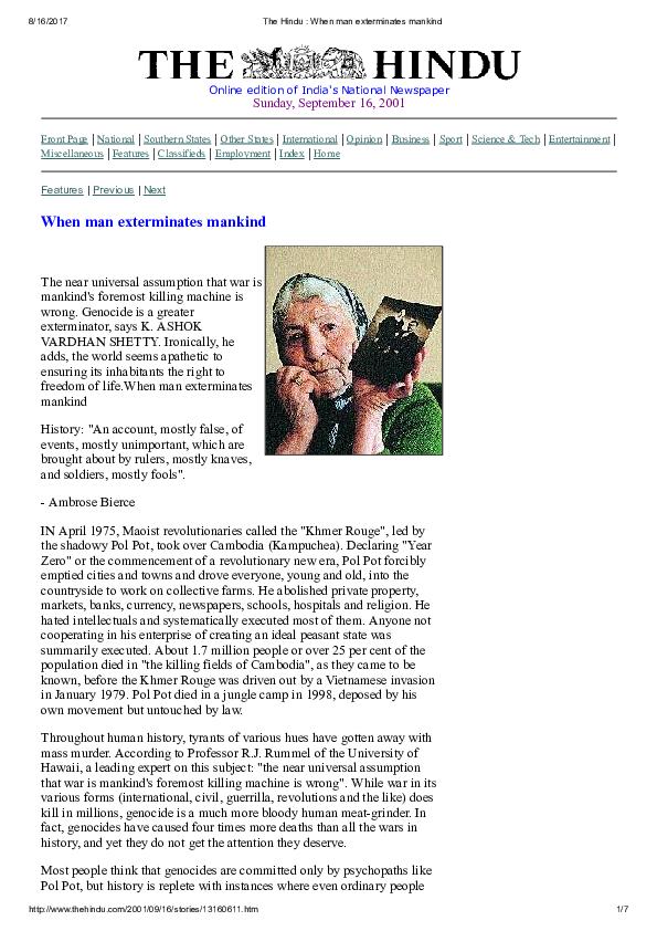 PDF) When man exterminates mankind   K  Ashok Vardhan Shetty