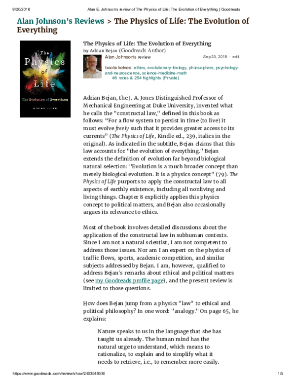 PDF) Review of Adrian Bejan,