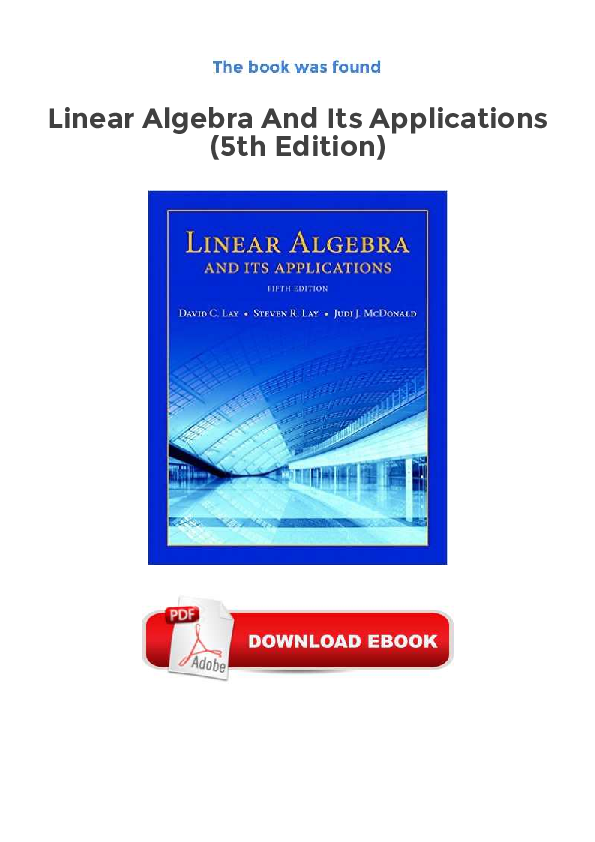 Linear Algebra And Its Applications 3rd Edition Pdf