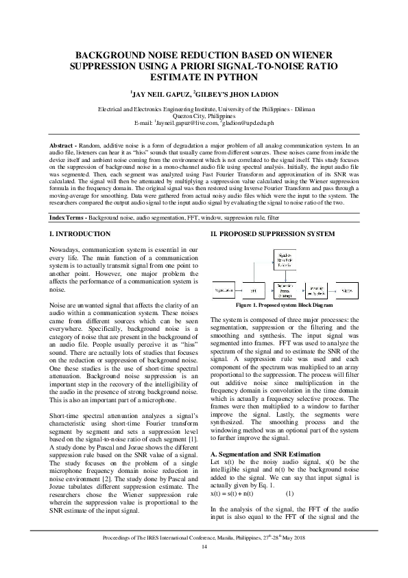 BACKGROUND NOISE REDUCTION BASED ON WIENER SUPPRESSION USING A