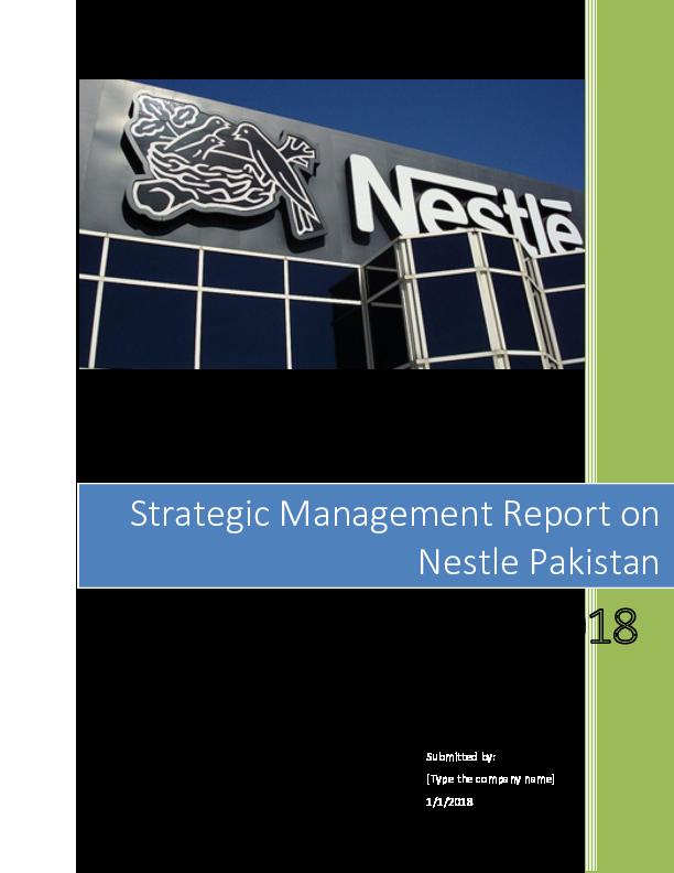 DOC) strategic management report on Nestle Pakistan docx