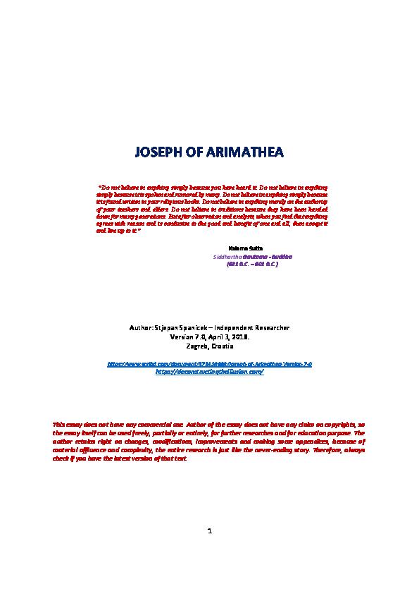 PDF) JOSEPH OF ARIMATHEA - Version 7-0-8 | Stjepan Spanicek
