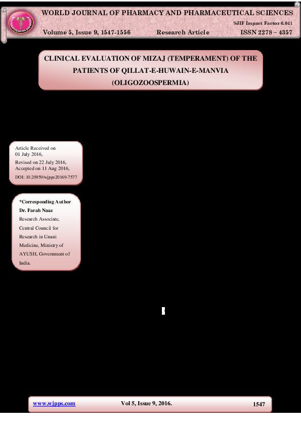 PDF) CLINICAL EVALUATION OF MIZAJ (TEMPERAMENT) OF THE