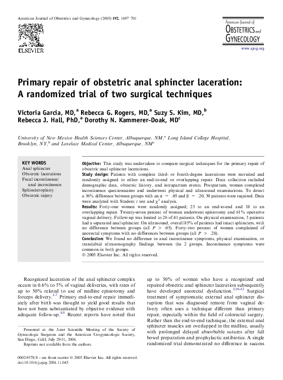 PDF) Primary repair of obstetric anal sphincter laceration