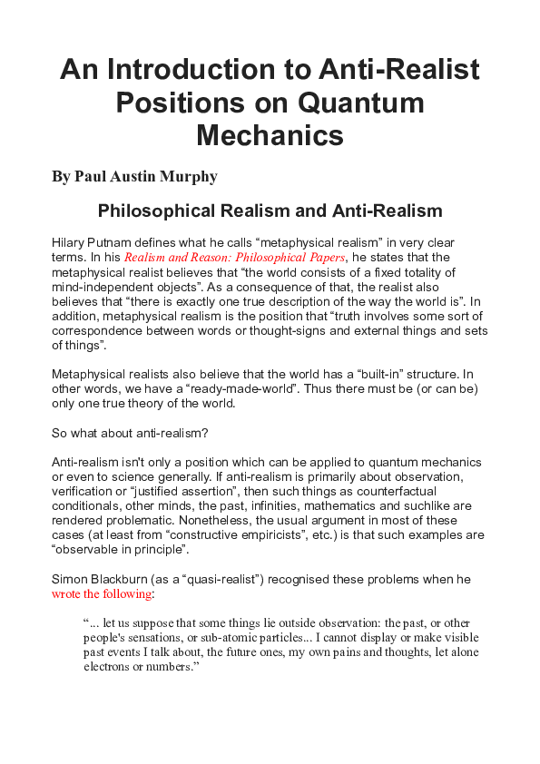DOC) An Introduction to Anti-Realist Positions on Quantum Mechanics
