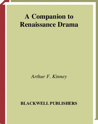 PDF) A Companion to Renaissance Drama | An An - Academia edu