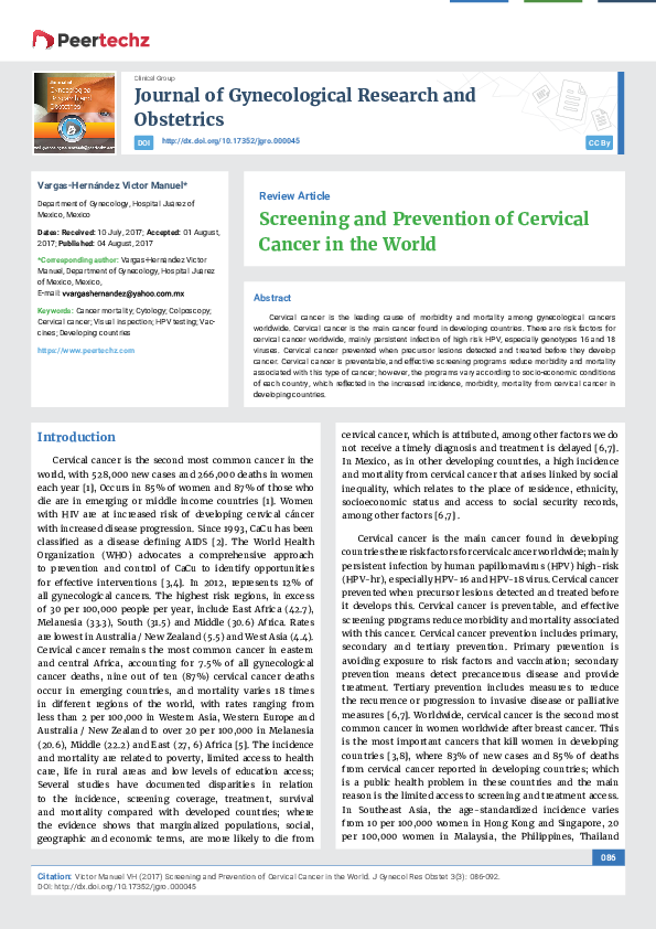 PDF) Screening and Prevention of Cervical Cancer in the World