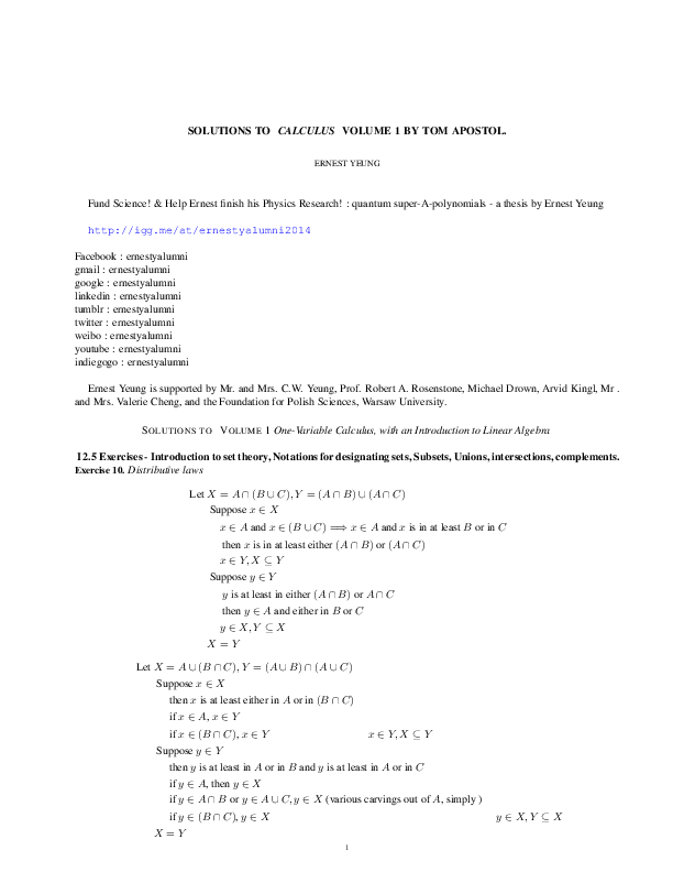 PDF) SOLUTIONS TO CALCULUS VOLUME 1 BY TOM APOSTOL | Swastik Biswas