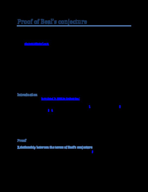 PDF) Proof of Beal's conjecture | Samuel Bonaya Buya - Academia edu