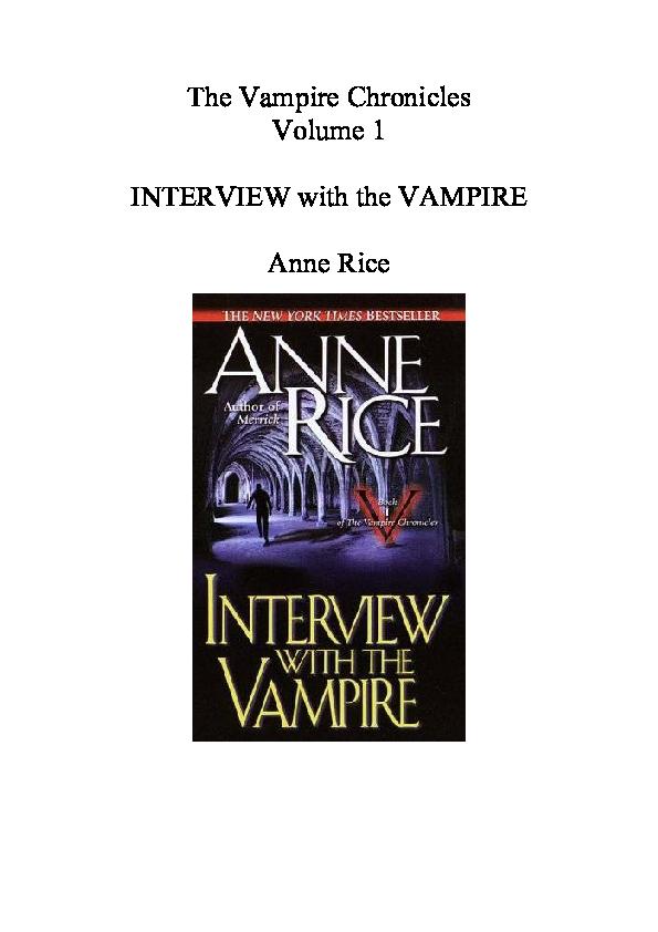 Pdf The Vampire Chronicles Volume 1 Interview With The Vampire Rjay Salcedo Academia Edu