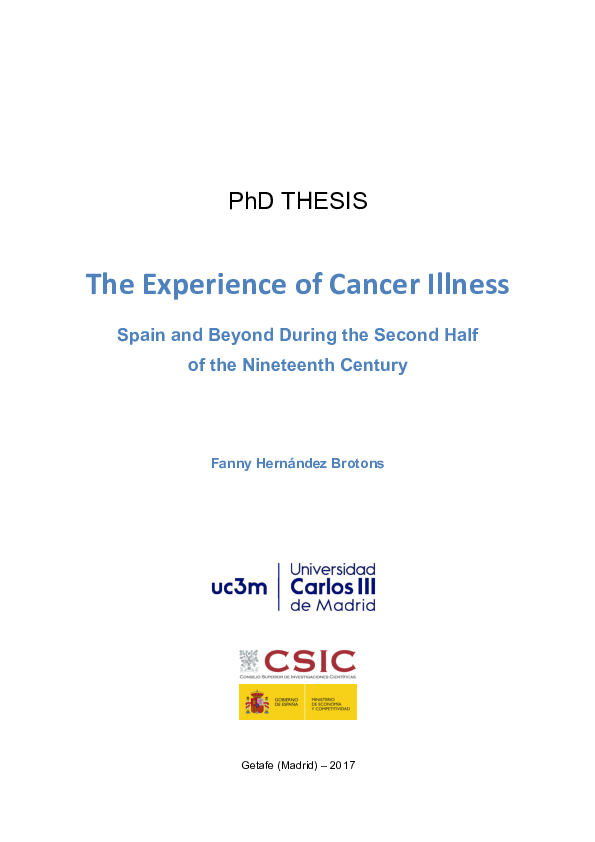 Pdf The Experience Of Cancer Illness Spain And Beyond During The