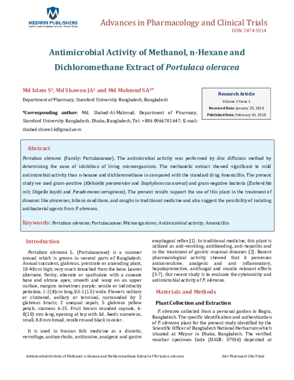 PDF) Antimicrobial Activity of Methanol, n-Hexane and