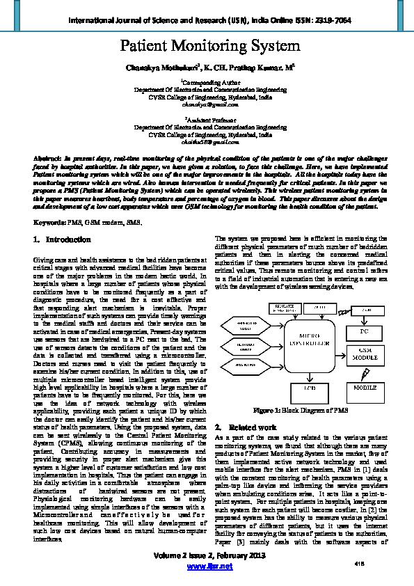 PDF) Patient Monitoring System.pdf | Editor IJSR - Academia.edu