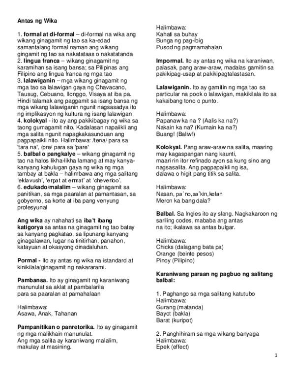 term paper tungkol sa wikang balbal