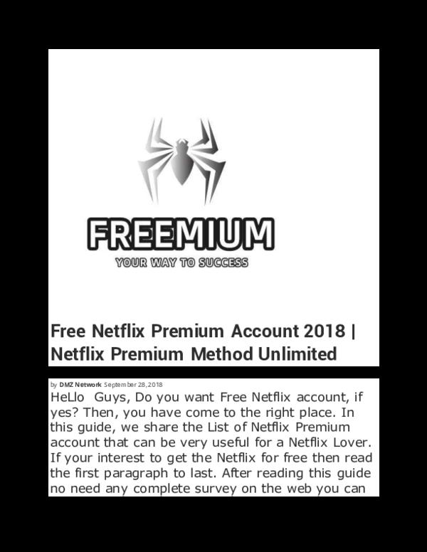 PDF) Netflix Premium Method Unlimited - FREEMIUM | Free Mium