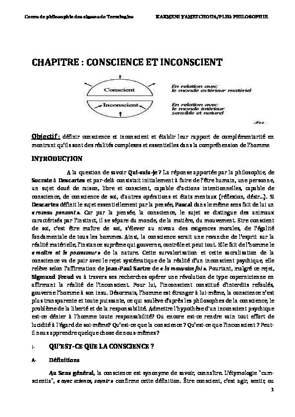 Pdf Cour De Philosophie Classe Terminale Chapitre Conscience Et Inconscient Kakmeni Schaller Academia Edu Dissertation