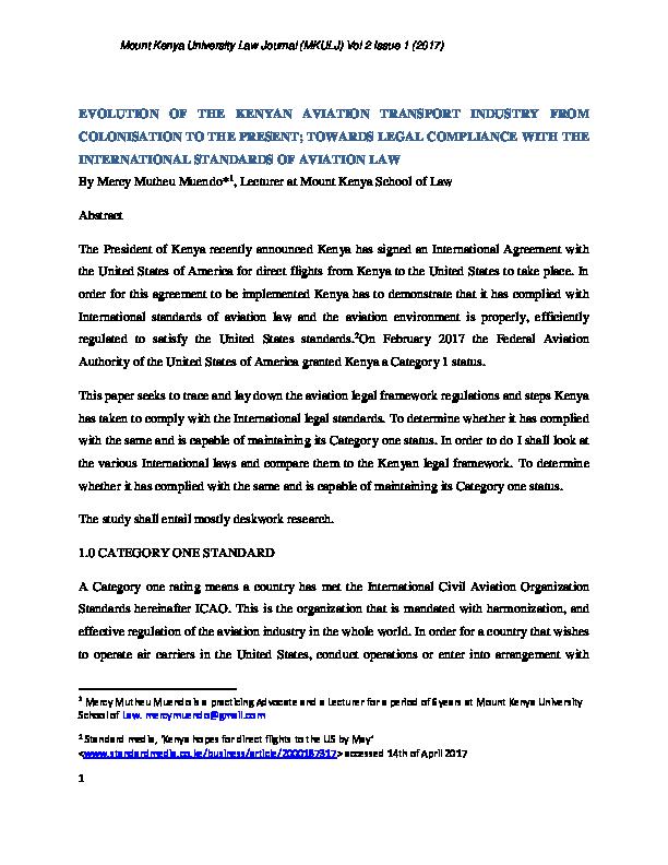 PDF) EVOLUTION OF THE KENYAN AVIATION TRANSPORT INDUSTRY
