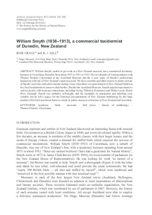 PDF) William Smyth (1838-1913), a commercial taxidermist of