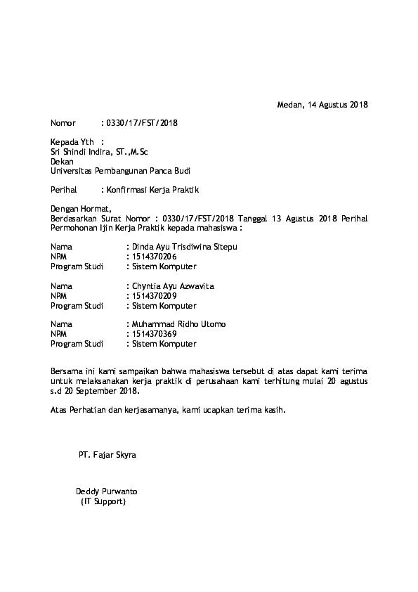 Doc Surat Balasan Pkl Dedi Sitanggang Academiaedu