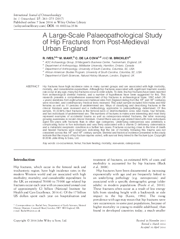 51cece9248ad PDF) A Large-Scale Palaeopathological Study of Hip Fractures from ...