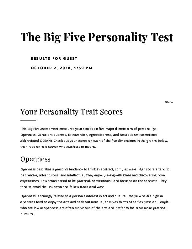 PDF) The Big Five Personality Test pdf | thomas mcclure